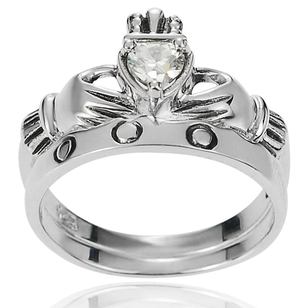Journee Collection Sterling Silver Celtic Claddagh Cubic Zirconia Ring Set