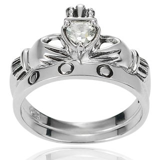 Tressa Collection Sterling Silver Celtic Claddagh Cubic Zirconia Ring Set