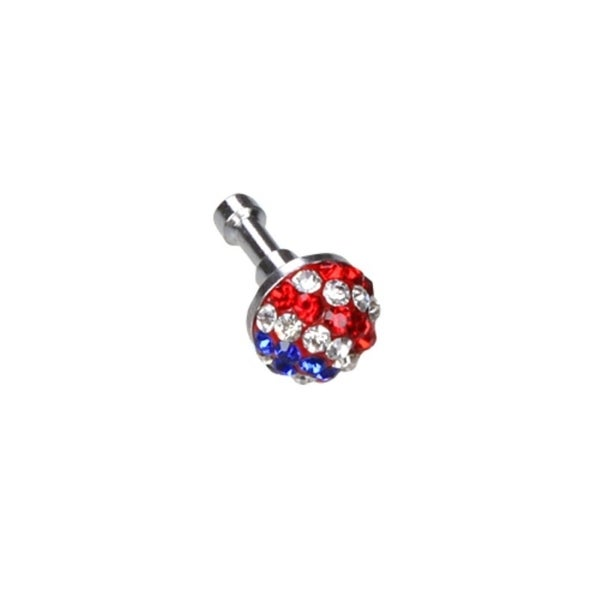 INSTEN Universal Red/ Blue/ Red Crystal 3.5mm Dust Cap