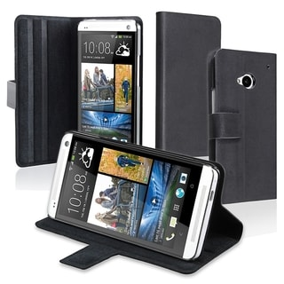 BasAcc Black Leather Case with Magnetic Flap for HTC One M7