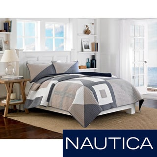 Nautica Seaview Cotton Reversible Quilt (Shams Sold Separately)