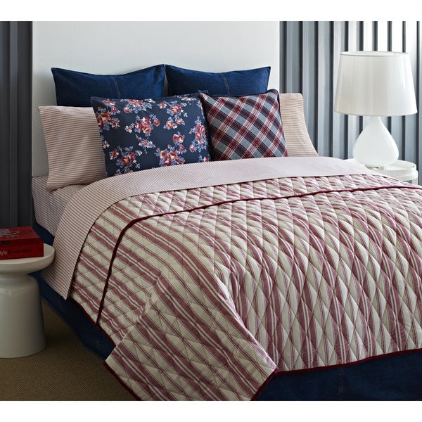 Tommy Hilfiger Awning Stripe Vintage Red 3-piece Cotton Quilt Set