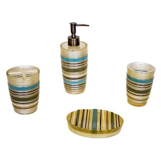 Sherry Kline 'Elegy' Striped 4-piece Bath Accessory Set
