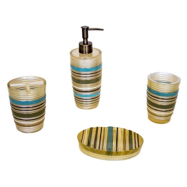 Sherry Kline 'Elegy' Striped Bath Accessory 4-piece Set
