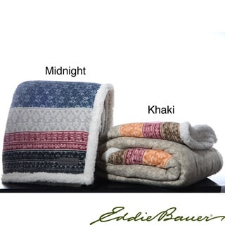 Eddie Bauer Micropluxh FairIsle Sherpa Reversible Throw