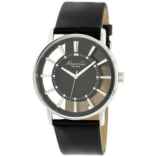 Kenneth Cole Men's 'Transparency KC1793' Black Leather White Dial Quartz Watch