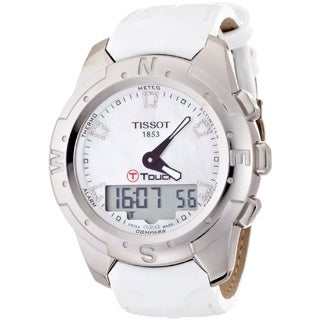 Tissot Women's 'T-Touch Ii T047.220.46.116.00' White Leather Mother-of-Pearl Dial Swiss Quartz Watch