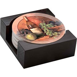 Occasions Wine & Fruit 4-piece Coaster Set with Holder