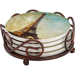 Occasions Golden Age of Paris 4-piece Coaster Set with Holder