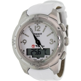 Tissot Women's 'T-Touch II T047.220.46.016.00' White Leather White Dial Swiss Quartz Watch