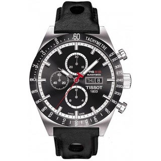 Tissot Men's 'T-Sport T044.614.26.051.00' Black Calf Skin Black Dial Swiss Automatic Watch