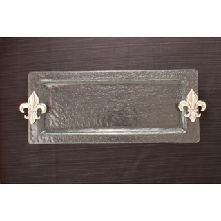 Fleur de Lis Hammered Glass Rectangular Tray