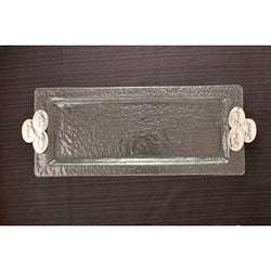 Wine-Food-Friends Hammered Glass Rectangular Tray
