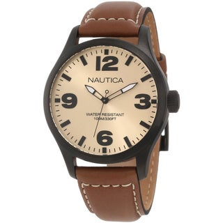 Nautica Men's 'N13616G' Brown Crocodile Leather Beige Dial Quartz Watch