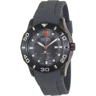 Swiss Military Hanowa Men's 'Oceanic 06-4170-30-009' Grey Rubber Black Dial Swiss Quartz Watch