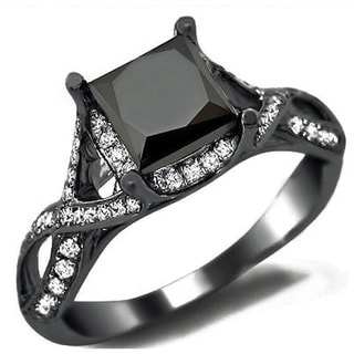 18k Black Gold 2 2/5ct TDW Certified Black Diamond Princess Cut Diamond Ring (E-F,VS1-VS2)