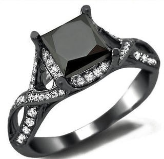 18K Black Gold 2.4ct TDW Black Diamond Princess Cut Diamond Ring
