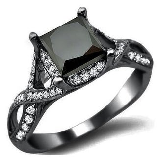 18k Black Gold 2 2/5ct TDW Certified Black Diamond Princess-cut Ring