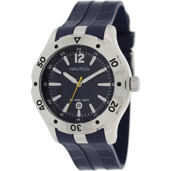 Nautica Men's 'Nst 401 N14641G' Blue Rubber Blue Dial Quartz Watch
