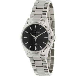 Hamilton Women's 'Jazzmaster H32315131' Silvertone Stainless Steel Black Dial Swiss Automatic Watch