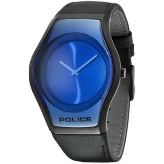 Police Men's 'Sphere PL.12096JSB/08' Black Calf Skin Blue Dial Analog Quartz Watch