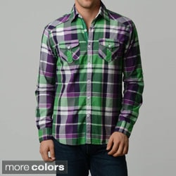 V.I.P. Collection Men's Plaid Slim-Fit Long Sleeve Button Down Shirt