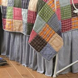 Caftan Blue and White Bell Stripe Bedskirt