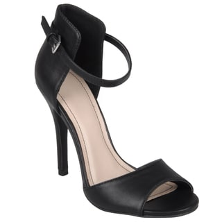 Journee Collection Women's 'Enzo-33' Open Toe Ankle Strap Stilettos with No Lining