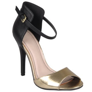 Journee Collection Women's 'Enzo-33' Gold Open Toe Ankle Strap Stilettos