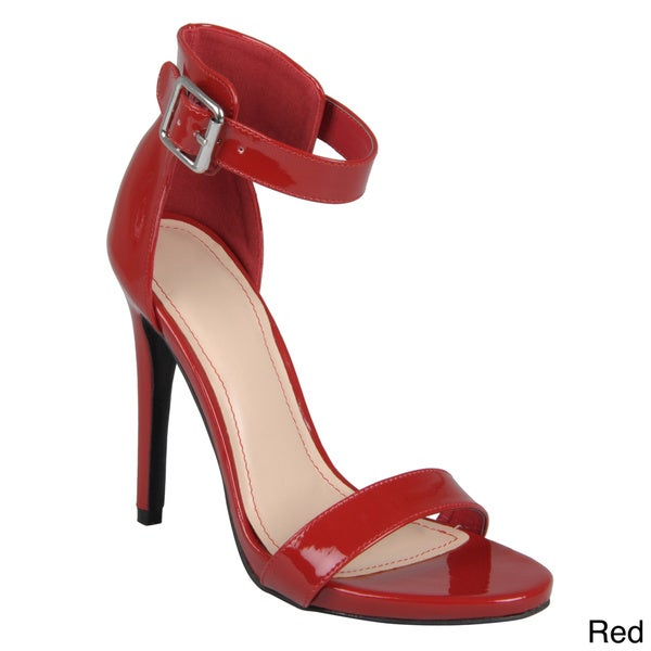 Journee Collection Women's 'Perton' Open Toe Ankle Strap Stilettos