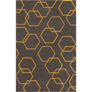 Allie Hand-tufted Geometric Grey Wool Rug (5' x 7'6)