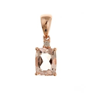 D'Yach 10k Rose Gold Morganite and Diamond Accent Necklace