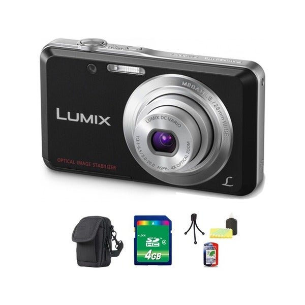 Panasonic Lumix DMC-FH4 14.1MP Black Digital Camera 4GB Bundle