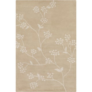 Allie Hand-tufted Floral Tan-Beige Wool Rug (5' x 7'6)