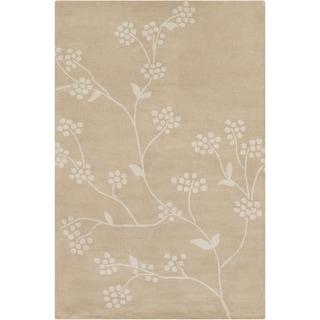 Allie Hand-tufted Floral Tan-Beige Wool Rug (5' x 7'6)