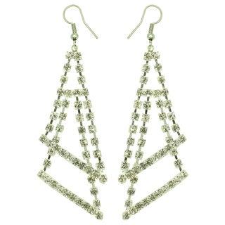 Kate Marie Silvertone Rhinestone Double Triangle Fashion Earrings