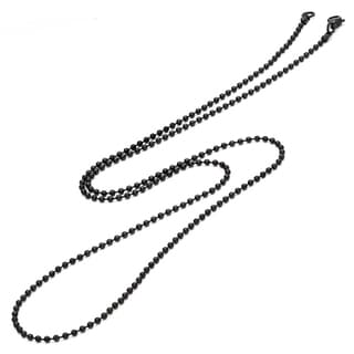 Black-plated Stainless Steel Men's Ball Chain