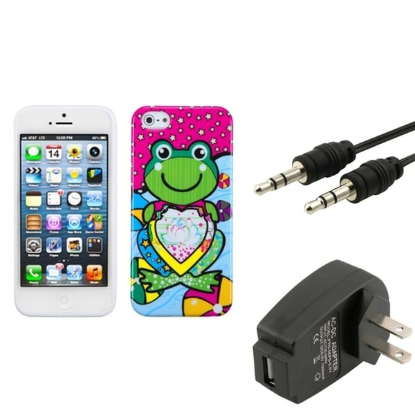INSTEN Wall Charger/ Audio Cable/ Lotus Frog Phone Case Cover for Apple iPhone 5