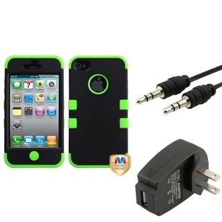 BasAcc Wall Charger/ Audio Cable/ Black Case for Apple iPhone 4/ 4S
