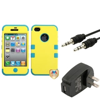 BasAcc Wall Charger/ Audio Cable/ Yellow Case for Apple iPhone 4/ 4S