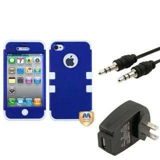 BasAcc Wall Charger/ Audio Cable/ Blue Case for Apple iPhone 4/ 4S