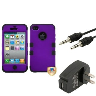 BasAcc Wall Charger/ Audio Cable/ Grape Case for Apple iPhone 4/ 4S
