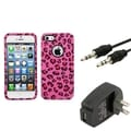 BasAcc Wall Charger/ Audio Cable/ Pink Leopard Case for Apple iPhone 5