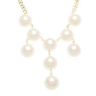 Roman Goldtone Cream Faux Pearl Bib Necklace