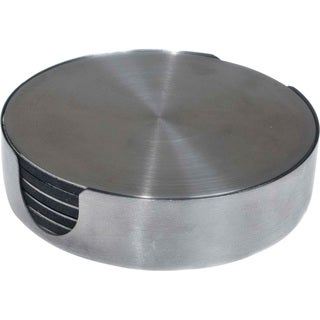 Round Stainless Steel Drink Coasters Set (Set of 6)