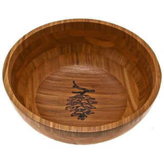 'Pine Cone Branch' Etched Bamboo Serving Bowl