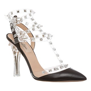 valentino women's 'naked rockstud' clear pointed slingback
