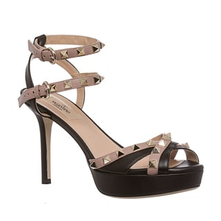 Valentino Women's Black/ Blush Studded Double Ankle-Strap Sandals