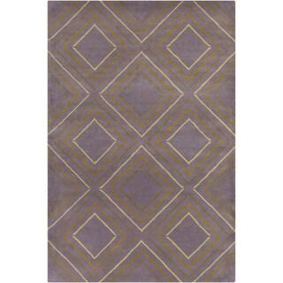 Allie Hand-tufted Geometric Grey-Green Wool Rug (5' x 7'6)
