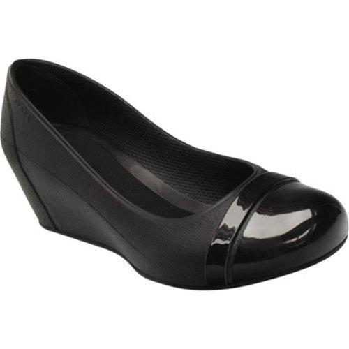 Women's Crocs Cap Toe Wedge Black/Black